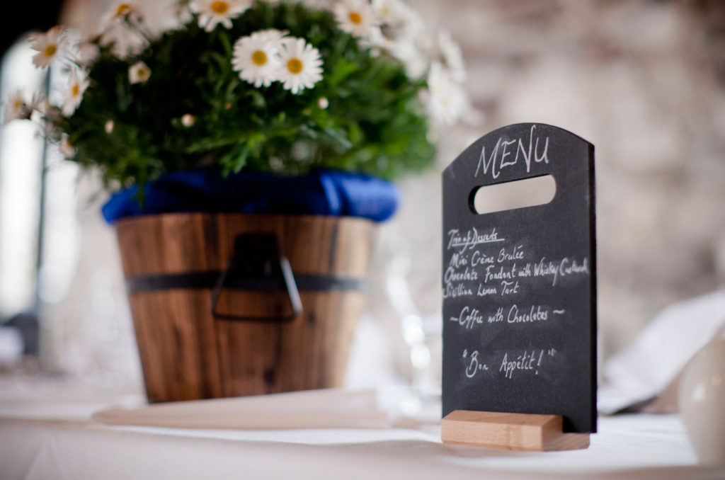 Bespoke wedding menus - Spiros wedding fayres