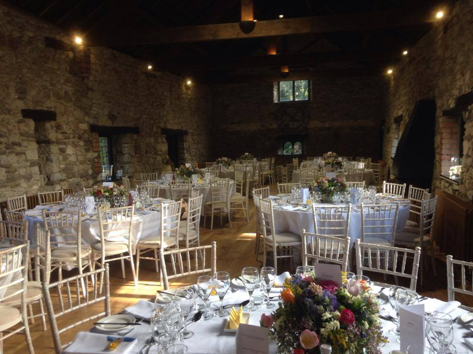 Tables and room at Pencoed House wedding