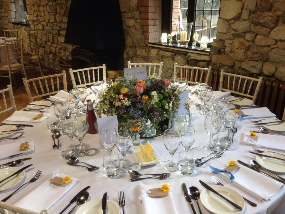 Gorgeous wedding table laid out at Pencoed House for a Spiros wedding