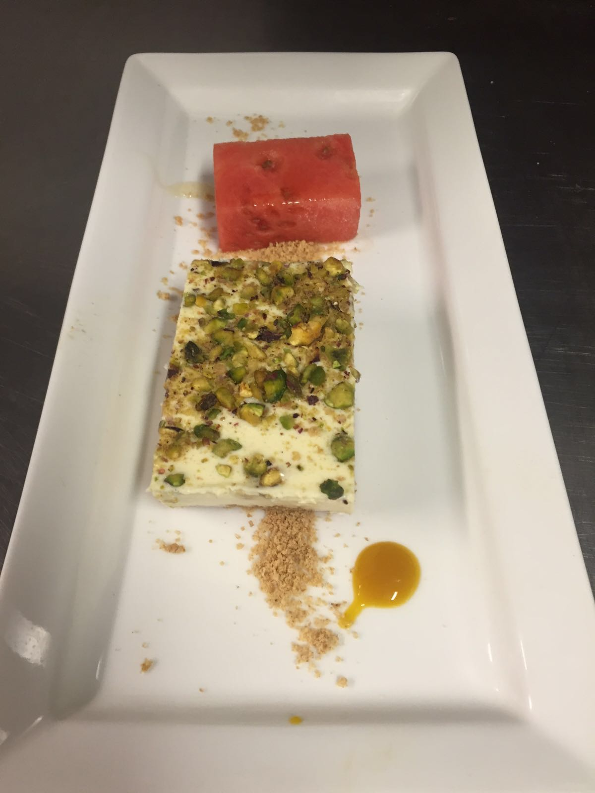 pistachio & honey cheesecake with watermelon