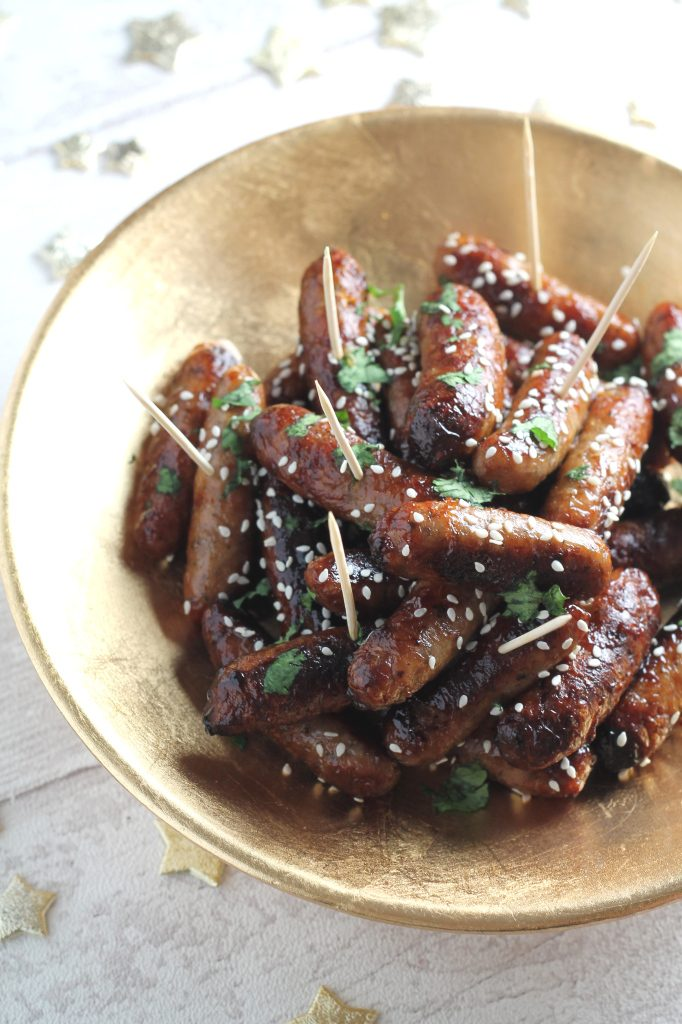Sticky Asian cocktail sausages food - Christmas recipes