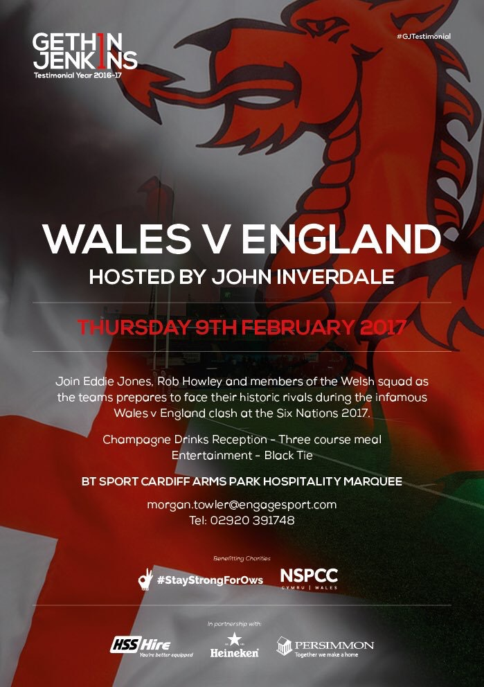 Gethin Jenkins testimonial dinner, Thursday 9th February 2017 with Spiros Caterers - the poster