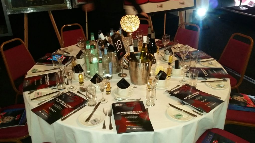 Gethin Jenkins testimonial dinner, Thursday 9th February 2017 with Spiros Caterers - a laid table
