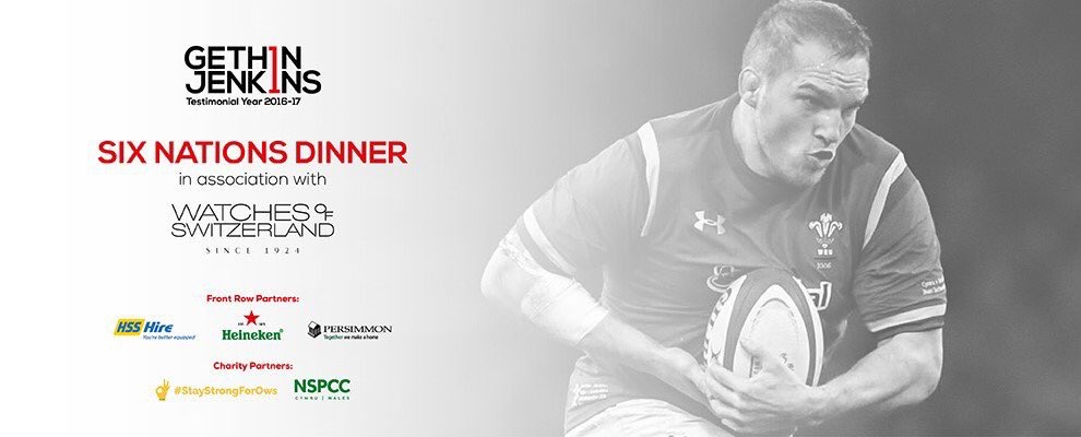 Gethin Jenkins testimonial dinner, Thursday 9th February 2017 with Spiros Caterers - promotional poster