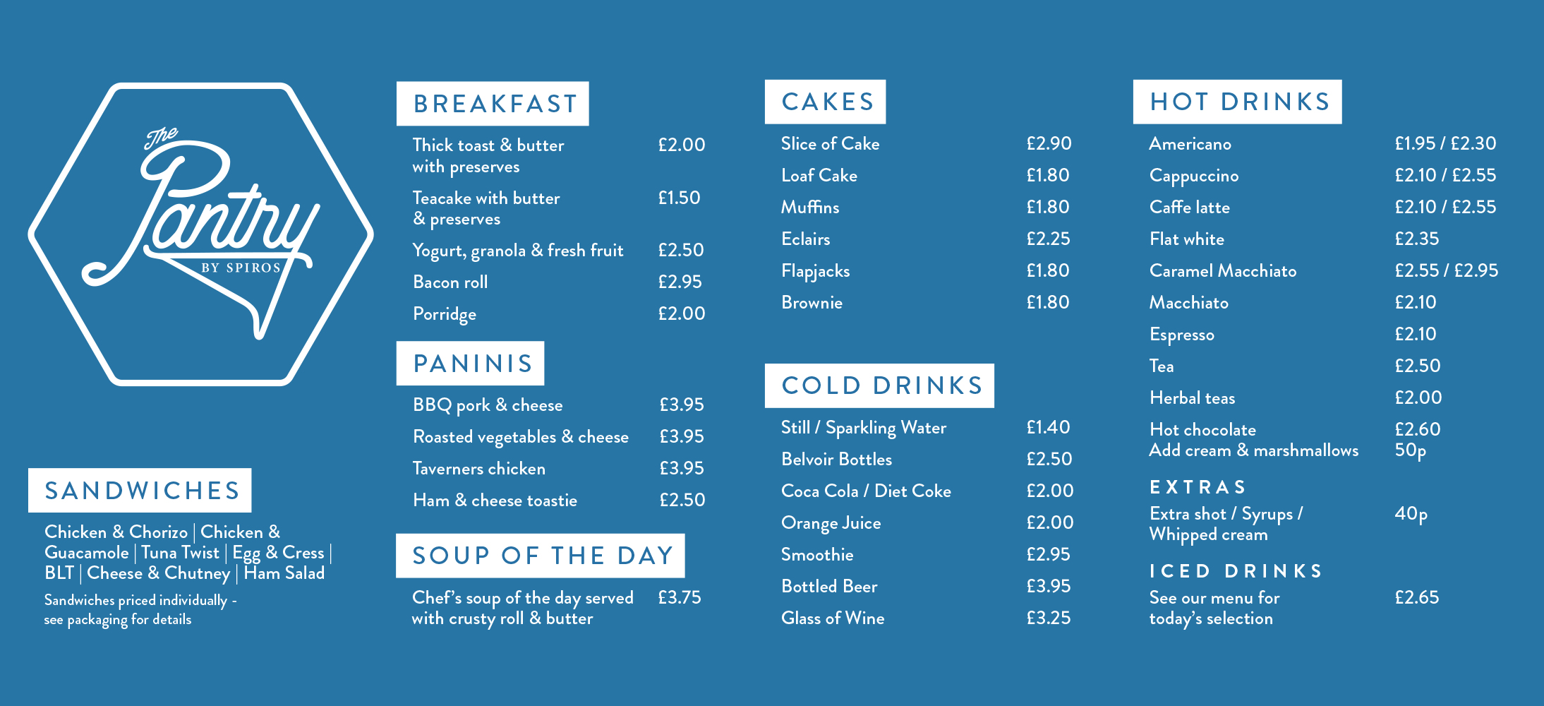 The Pantry cafe menu in Cornerstone, with Spiros