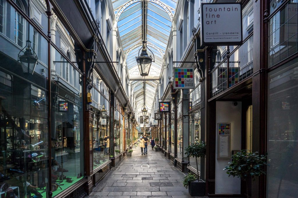 Cardiff Arcades, shopping for Mother's Day in Cardiff