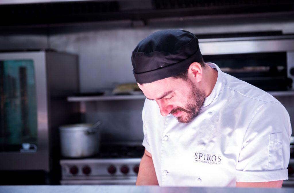 Spiros chef preparing a festive turkey and pheasant roulade recipe