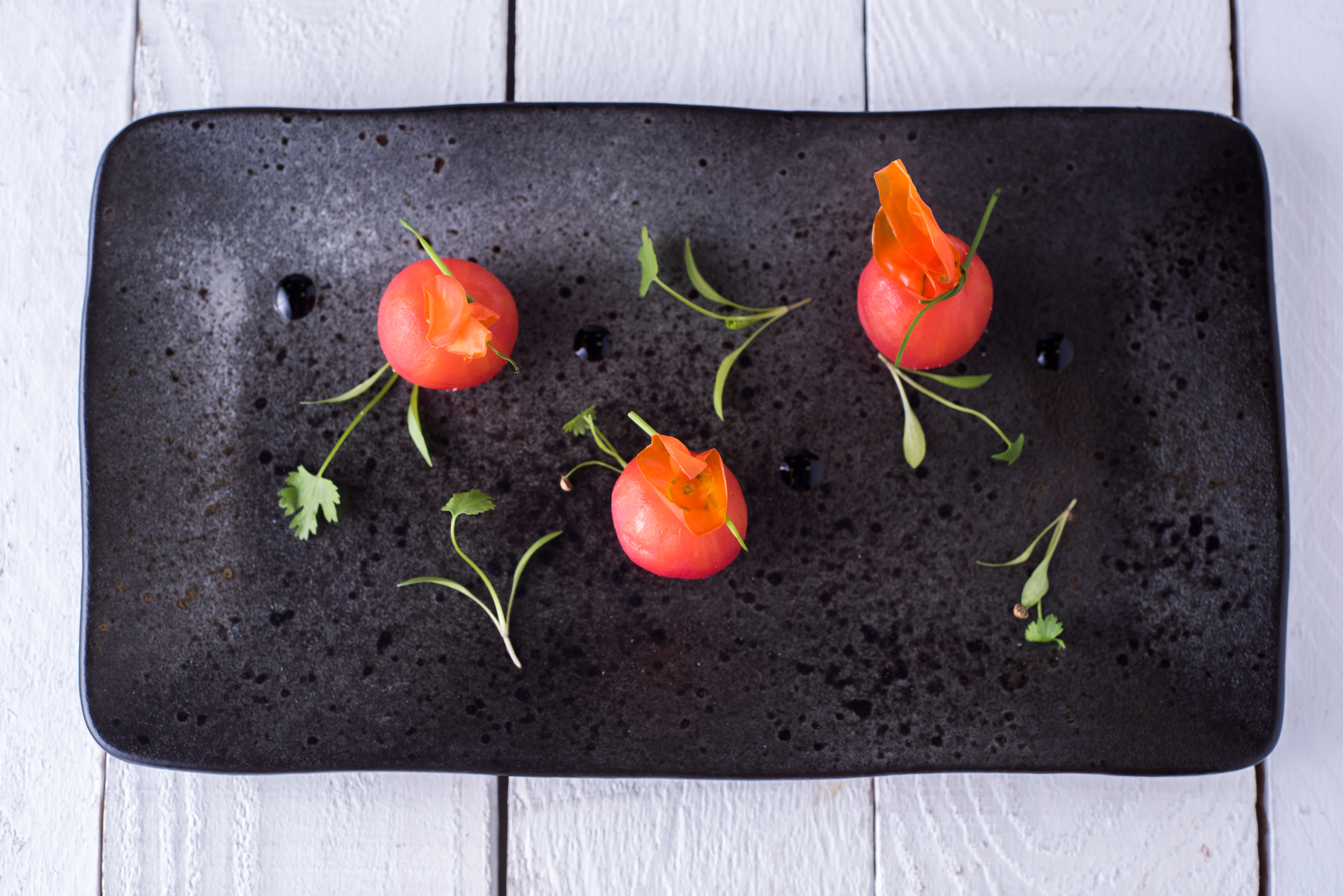 fine dining catering cornerstone tomatoes starter