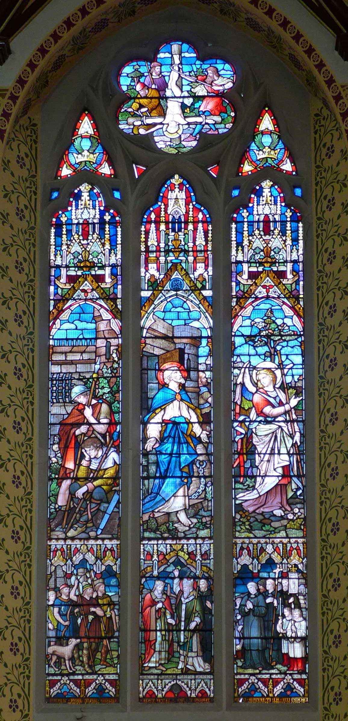 St Peter's Hall, stained glass windows inside church