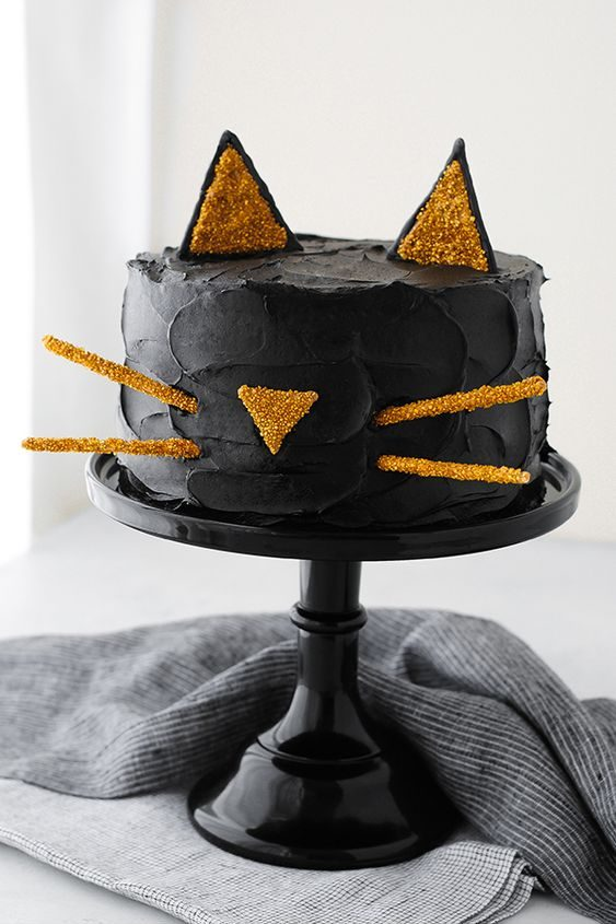 Black Cat Cake Halloween Food tutorial