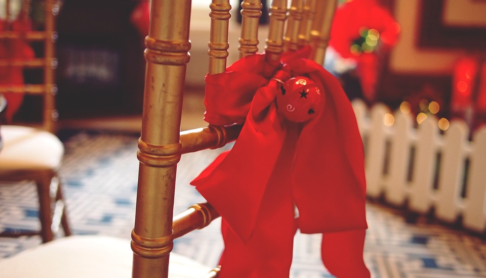 Spiros Christmas party checklist - chair with red bow