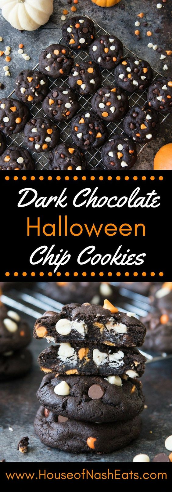 Dark Chocolate Chip Cookies Halloween Dessert Tutorials