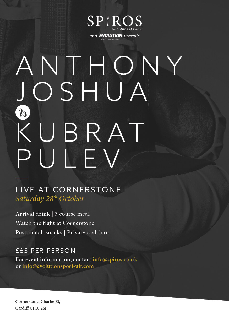 Anthony Joshua vs Kubrat Pulev at Cornerstone Cardiff