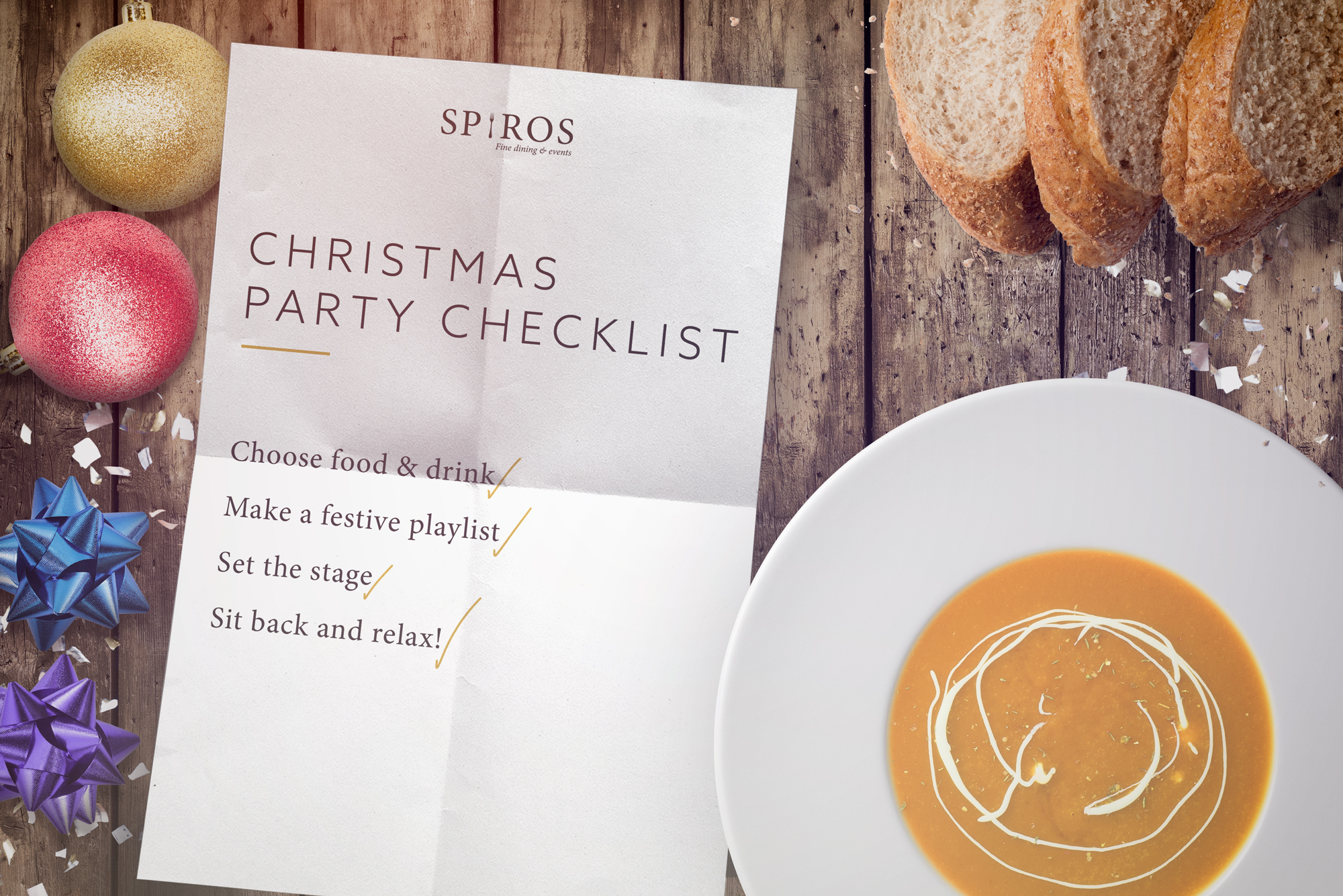 Planning a party? Use our Spiros Christmas party checklist