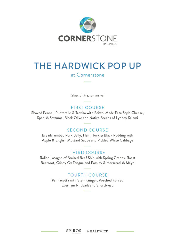 Stephen Terry and The Hardwick - pop up event at Cornerstone Cardiff - menu