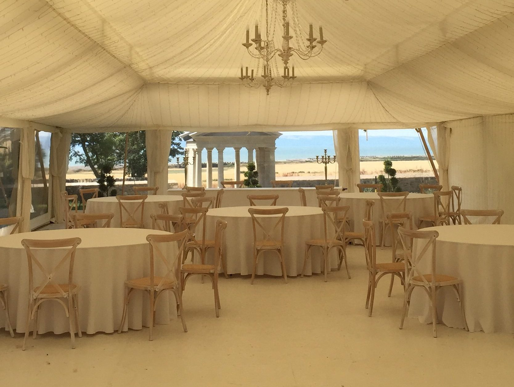 Gileston Manor inside the wedding marquee - Spiros Fine Dining & Events